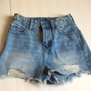 Stradivarius Light wash blue distressed shorts